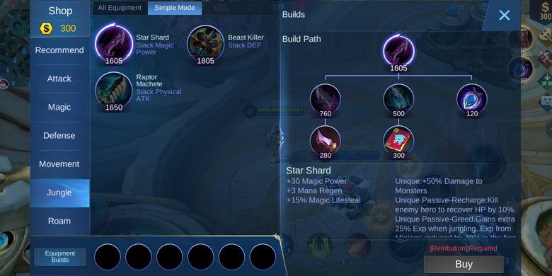 Ilustrasi pemain yang tidak bisa membeli item jungling karena tidak punya battle spell Retribution.