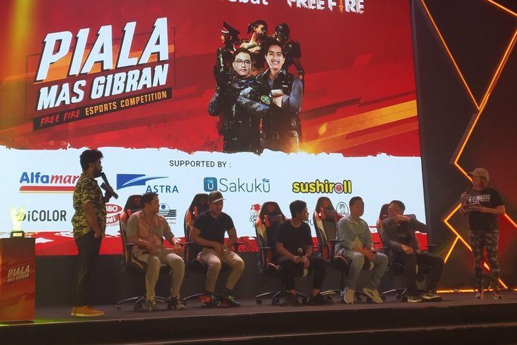 Putra sulung Presiden Jokowi, Gibran Rakabuming Raka membuka Free Fire e-Sports Competition Piala Mas Gibran di Diamond Convention Center Solo, Jawa Tengah, Sabtu (28/12/2019).