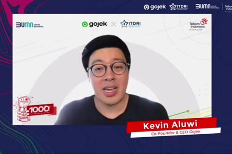 Co-Founder & CEO Gojek Kevin Aluwi saat Talkshow Inspiratif: Startup Building Experience From The Founder yang disiarkan secara virtual, Jumat (16/7/2021). (Tangkapan Layar)