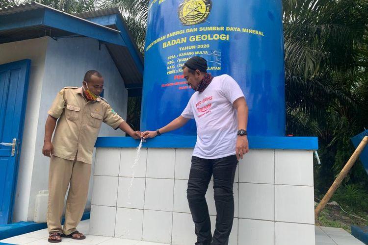 Peninjauan fasilitas sumur bor di Desa Karang Mulya di Desa Karang Mulya, Kecamatan Sungai Loban, Kabupaten Tanah Bumbu, Kalimantan Selatan (Kalsel).