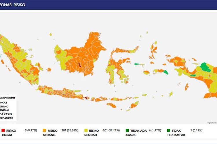 Peta zonasi Covid-19 dari Satgas Penanganan Covid-19 (28/3/2021)