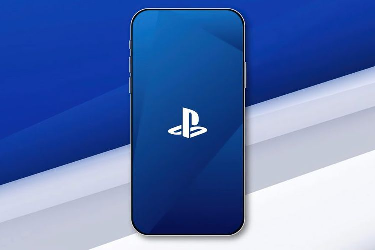 Ilustrasi logo Sony PlayStation di smartphone.