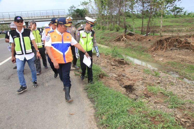 Jalan Tol Cipali KM 136 yang menjadi lokasi banjir.