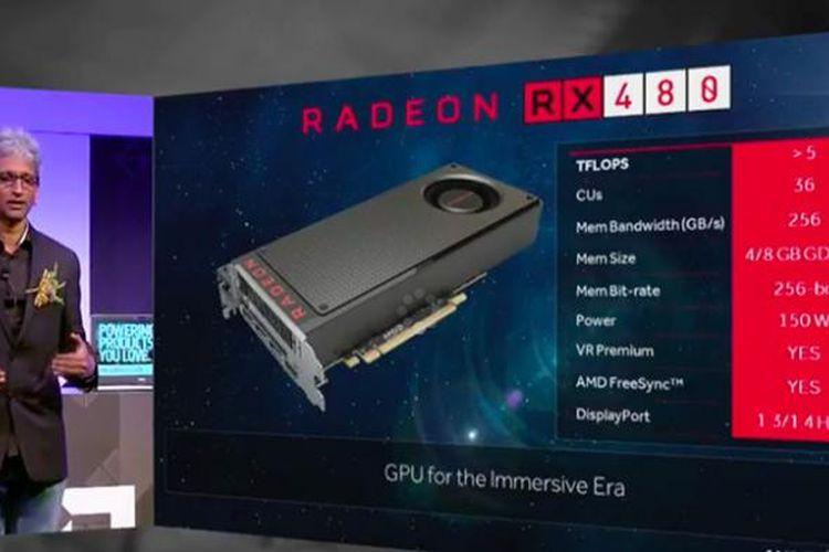 Senior VP dn Chief Architect Radeon Technologies Group AMD, Raja Koduri, memperkenalkan Radeon RX 480 dalam acara di Taipei, Taiwan, Rabu (1/6/2016)