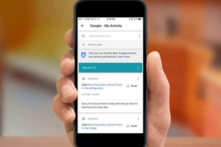 halaman Google My Activity di smartphone