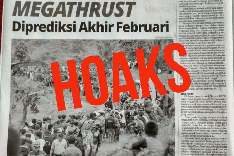 Informasi tentang adanya gempa megathrust akhir Februari 2019 adalah Hoaks atau kabar bohong.