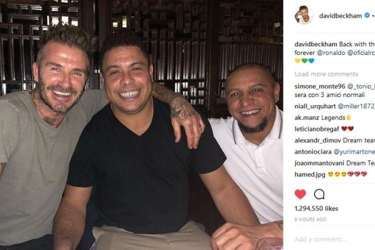 David Beckham bersama Ronaldo dan Roberto Carlos.