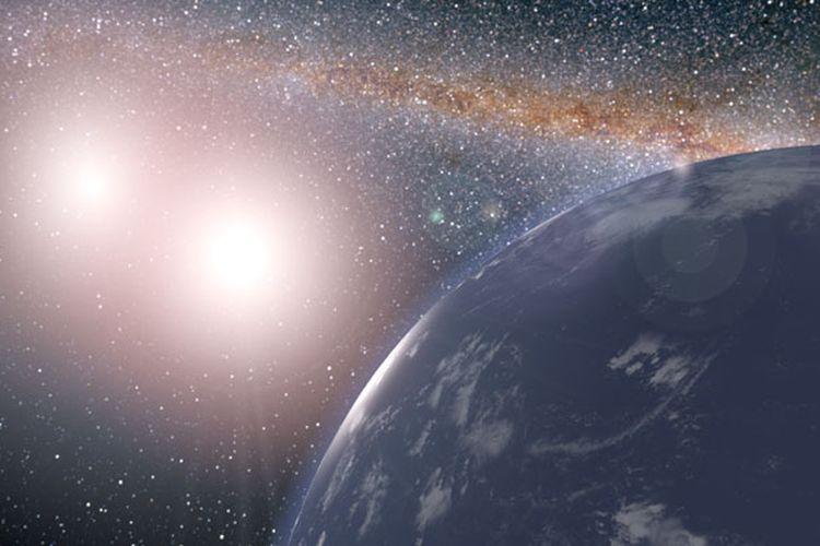 Ilustrasi planet seukuran bumi dengan dua bintang.