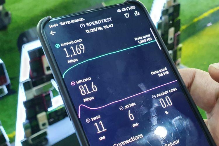 Kecepatan puncak internet 5G Telkomsel.