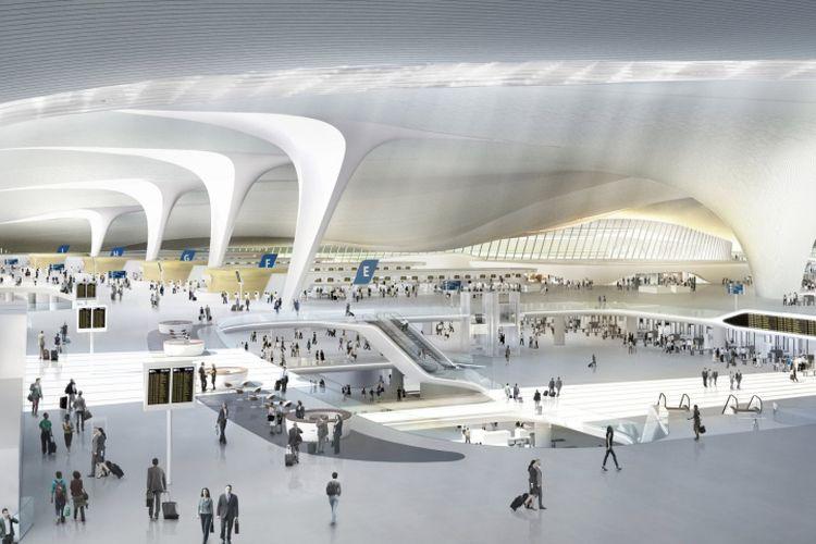 Bangunan terminal didukung oleh delapan tiang berbentuk C raksasa. Desain tiang ini mampu membiarkan banyak sinar matahari masuk ke dalam ruangan.