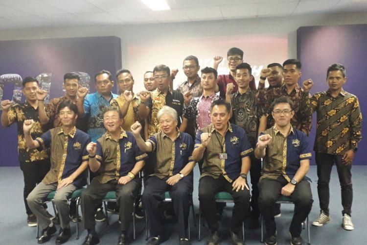 Acara peluncuran tim-tim balap Yamaha Indonesia untuk kompetisi tahun 2019, di Jakarta, Jumat (1/3/2019). Tim-tim tersebut akan turun di kejuaraan skala nasional, Asia hingga dunia.