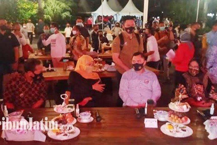 Suasana acara ekspos hasil survey pencegahan dan pengendalian Covid-19 Jatim di halaman Balai Kota Surabaya, Rabu (12/8/2020).