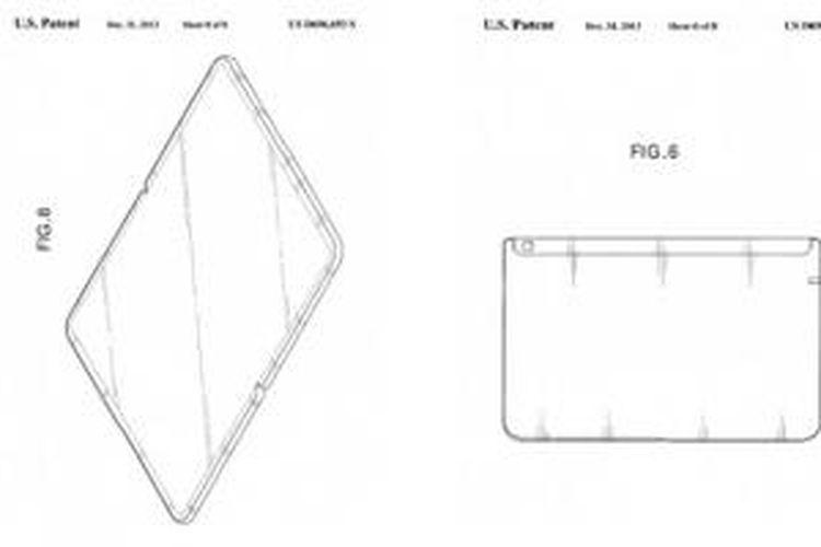 Gambar desain tablet yang bisa dilipat dalam dokumen paten Samsung