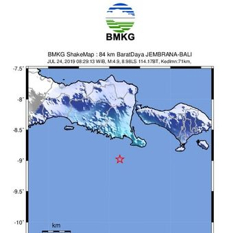 Gempa Bali, Rabu (24/7/2019).