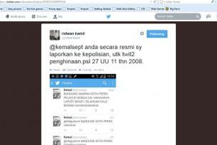 Ridwan Kamil melaporkan pemilik akun @kemalsept karena dianggap telah menghina Kota Bandung.