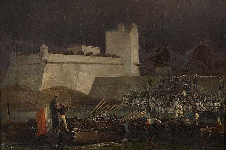Ilustrasi pastry war atau perang kue antara Meksiko dan Perancis pada 1838-1839. [Via Wikimedia Commons]