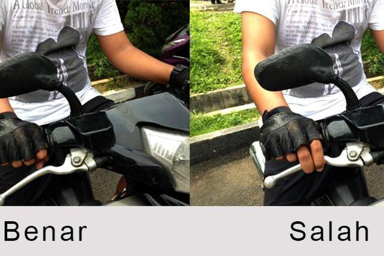 Posisi tangan yang benar pada setang sepda motor.