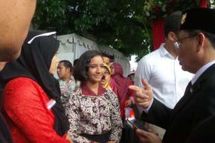 Gloria Natapradja Hamel datang ke Istana Merdeka meski tidak lagi menjadi Paskibraka pada upacara HUT ke-71 Republik Indonesia, Rabu (17/8/2016).