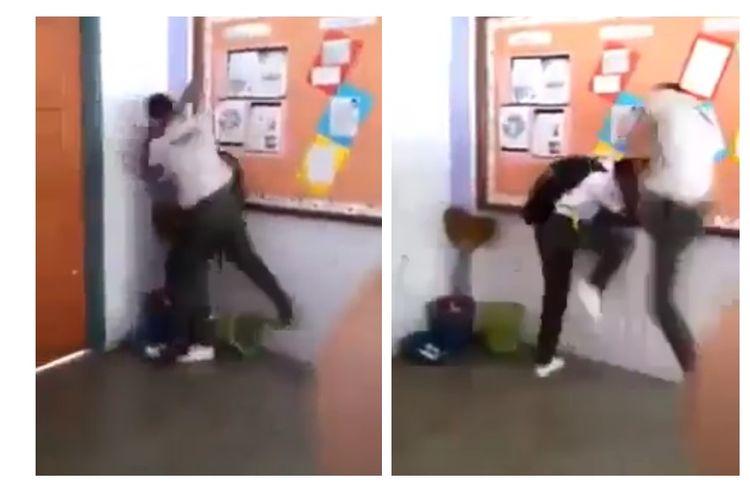 Viral video pengeroyokan pelajar oleh rekannya di dalam kelas.