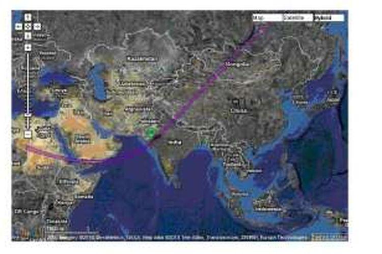 Lintasan gerhana matahari cincin masa Nabi Muhammad pada 27 Januari 632