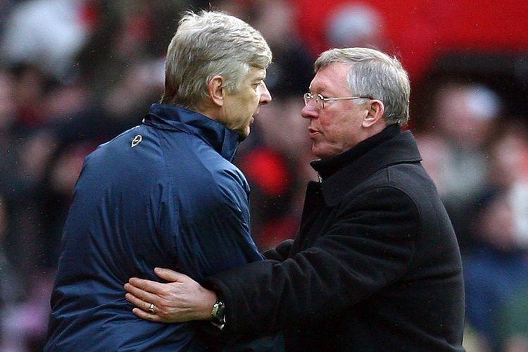 Mantan pelatih Arsenal, Arsene Wenger (kiri), bersama eks juru taktik Manchester United, Alex Ferguson (kanan).