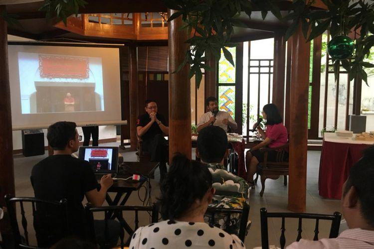 KompasTravel mengadakan event ?Weekender? bertema ?Kuliner Peranakan X Betawi Lawas? dengan menghadirkan dua narasumber ternama di Kedai Sirih Merah, Jakarta, Sabtu (19/5/2018).