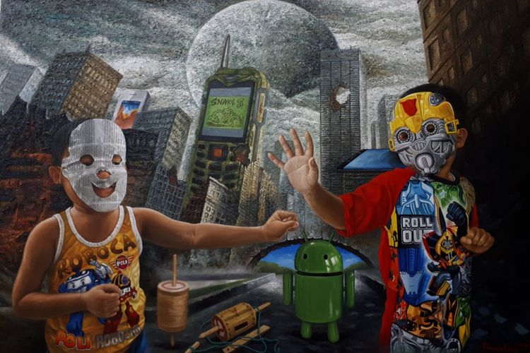 Daniel Lie, The Game World of All Time, Cat Minyak Kanvas-100x150 cm-2019