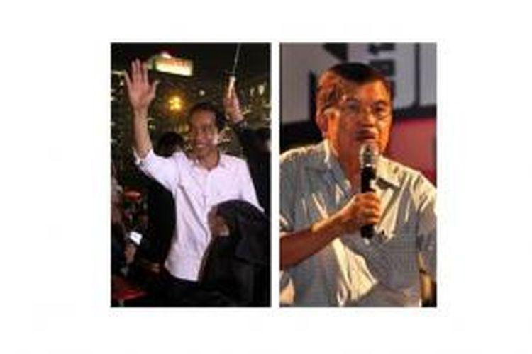 Joko Widodo (kiri) dan Jusuf Kalla (kanan)