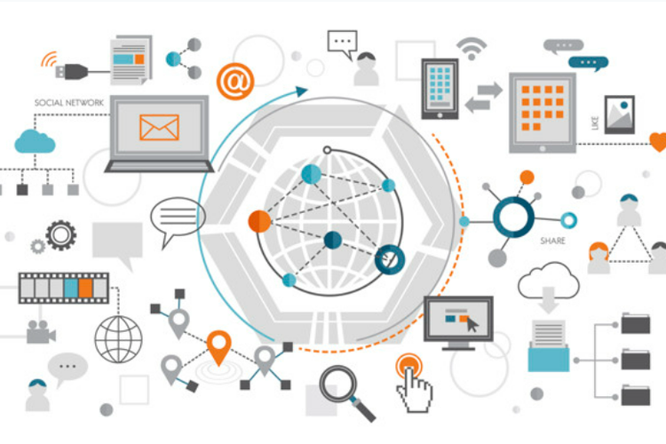 Ilustrasi teknologi informasi digital