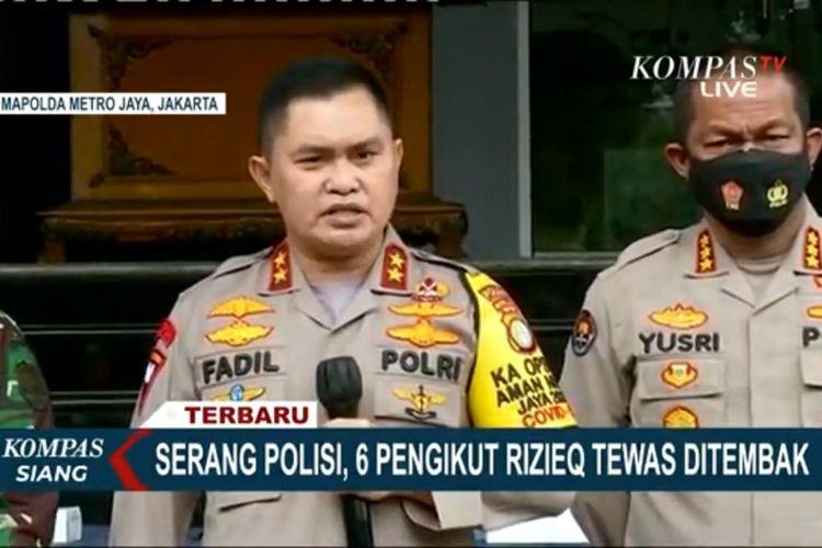 Tangkapan layar Kompas TV Konferensi pers Kapolda Metro Jaya Irjen Pol Fadil Imran di Polda Metro Jaya, Senin (7/12/2020).