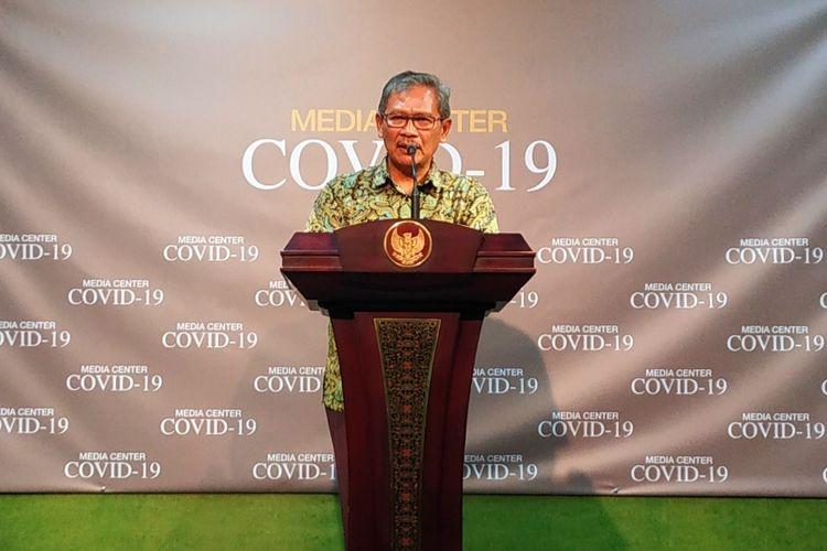 Juru bicara pemerintah untuk penanganan virus corona Achmad Yurianto dalam konferensi pers di Istana Kepresidenan, Jakarta Pusat, Sabtu (7/3/2020).