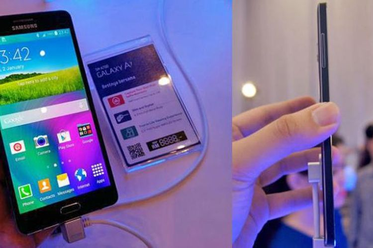 Samsung Galaxy A7 yang dipamerkan Samsung saat peluncuran Galaxy A3 dan A5 di Malaysia, Kamis (8/1/2014).