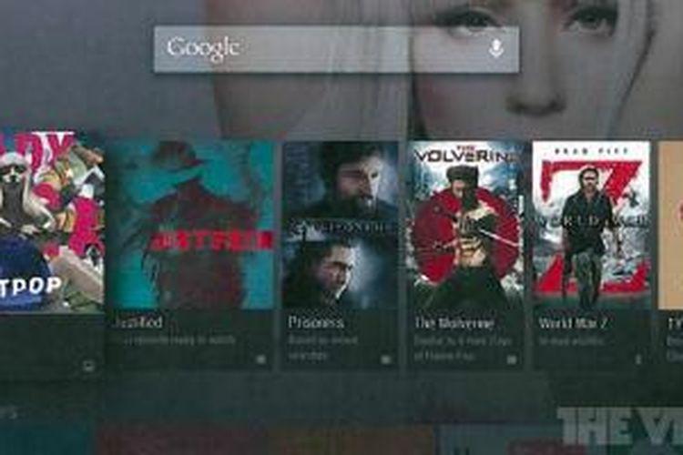 Tampilan interface Android TV yang dilansir oleh The Verge