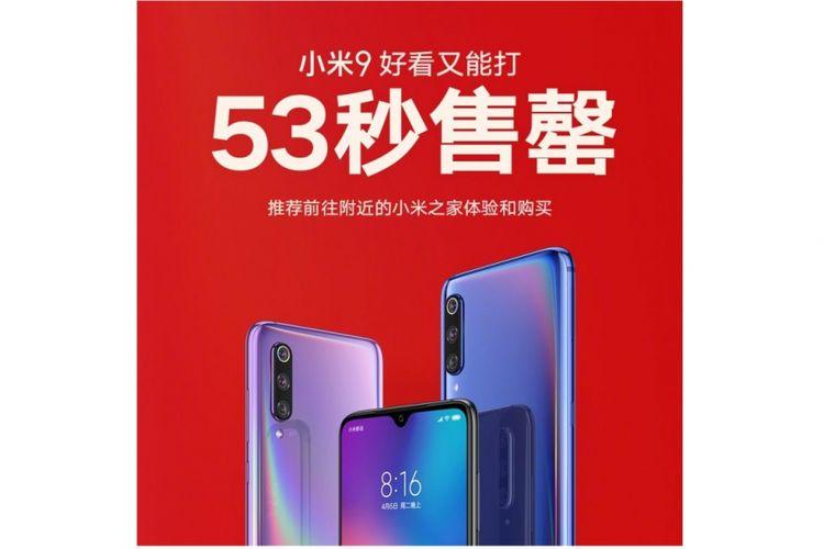 Ilustrasi poster Weibo penjualan Mi 9