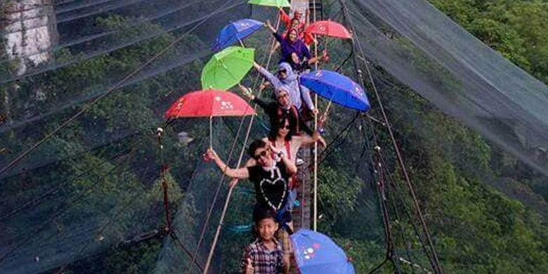Keindahan Helena Sky Bridge, Bantimurung, Sulawesi Selatan, di atas habitat kupu-kupu.