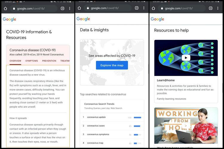 Tampilan situs Google Covid-19. Gambar pertama (paling kiri) menampilkan seluk-beluk virus corona, gambar kedua (tengah) peta persebaran Covid-19, dan gambar ketiga (kanan) tips berupa video untuk menjalankan kegiatan sehari-hari di tengah wabah Covid-19.