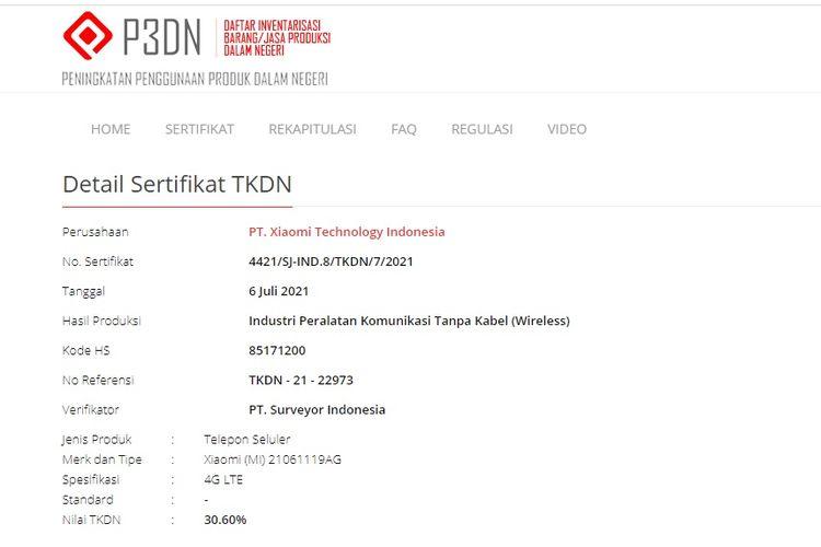 Sertifikasi Xiaomi Redmi 10 yang terdaftar di laman TKDN Kemenperin
