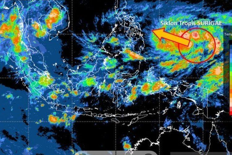 Ilustrasi Siklon Tropis Surigae yang terbentuk di sekitar Pasifik Barat sebelah utara Papua, Rabu (14/4/2021).