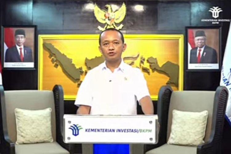 Menteri Investasi/ Kepala BKPM Bahlil Lahadalia dalam webinar Prospek dan Tantangan Industri Beterai Nasional yang digelar secara virtual, Kamis (24/6/2021). (Tangakapan Layar)