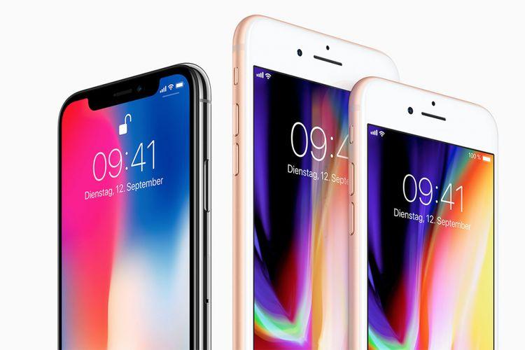 iPhone X (kiri) serta duo iPhone 8 dan iPhone 8 Plus.