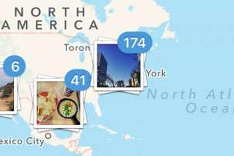 Fitur Photo Maps di Instagram, yang menunjukkan foto-foto berdasarkan geotagging