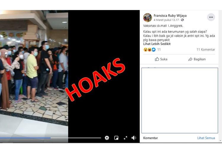 Tangkapan layar video hoaks soal kerumunan di mal Taman Anggrek