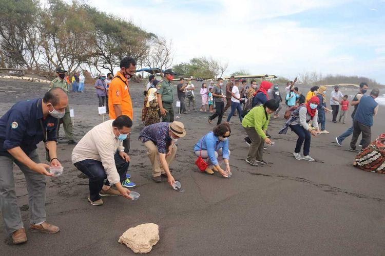 Pelepasliaran 1.000 ekor tukik di Pantai Trisik, Kabupaten Kulonprogo. (Foto Dokumentasi BKSDA)