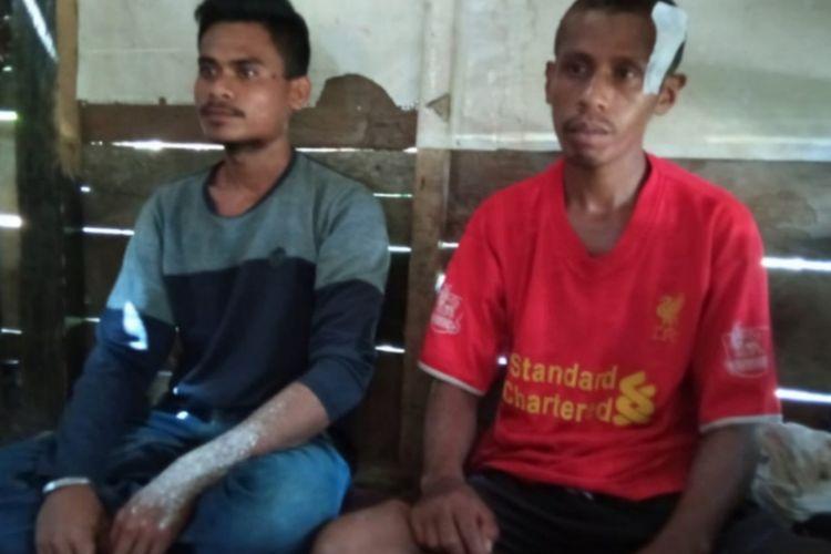 Dua buruh bangunan yakni La Iwan dan La Duma menjadi korban kekerasan polisi saat pembubaran demo mahasiswa di sekitar Mapolda Sultra