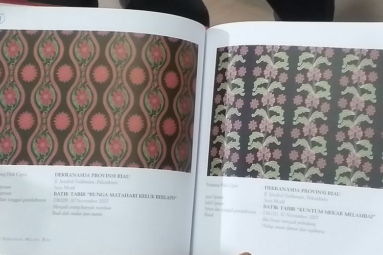 Motif batik Riau yang diklaim pengusaha asal Bandung.
