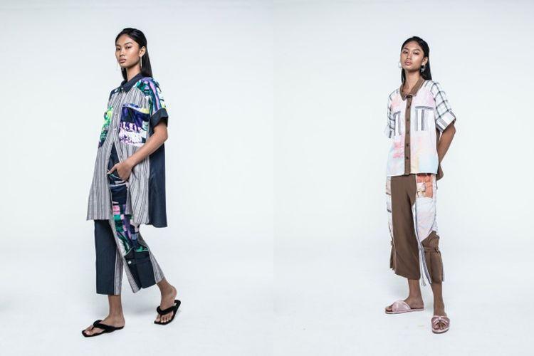 Motif busana ini terinspirasi dari kain perca yang berada di studio Purana.