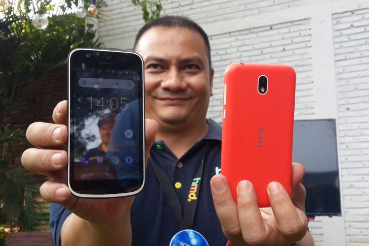 Nokia 1, produk terbaru HMD Global selaku pemegang merk smartphone Nokia saat peluncuran di Kota Malang, Selasa (7/8/2018)