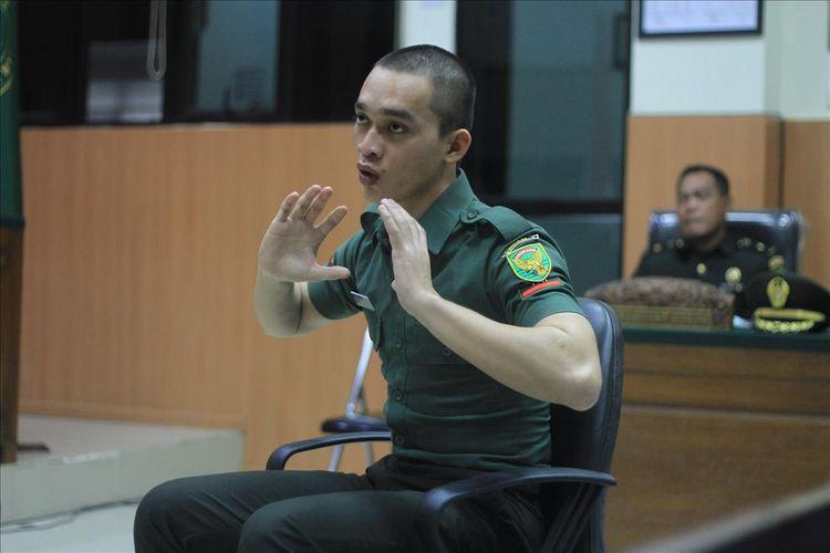 Prada DP  saat memberikan kesaksian di Pengadilan Militer I -04 Palembang, Kamis (15/8/2019).