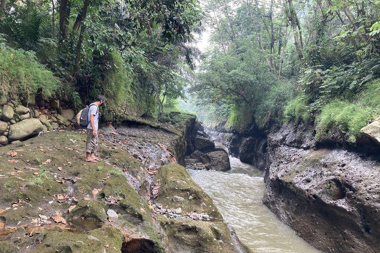 Salah satu titik Sungai Ciliwung yang memiliki pesona indah, lengkap dengan pepohona rindang, serta rerumputan dan semak belukar yang masih hijau dan asri, Kota Bogor, Senin (24/5/2021).