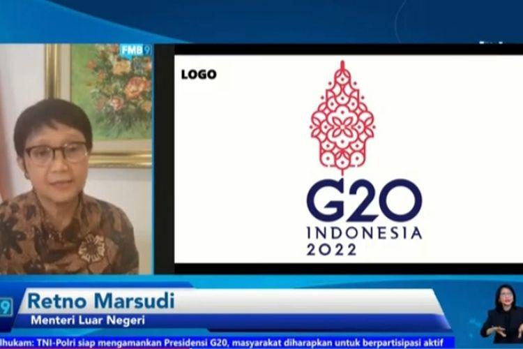 Menteri Luar Negeri RI Retno Marsudi menjelaskan makna logo Presidensi G20 Indoensia secara virtual di konferensi pers Menuju Presidensi G20 Indonesia Tahun 2022, Selasa (14/9/2021).